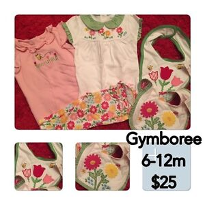 Gymboree girl 6-12m outfit and bibs
