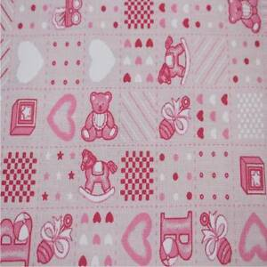 Printed poly cotton fabric material pink teddy 115cm for Nursery fabric uk