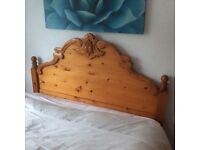 Solid Antique Pine Double Bed Frame.