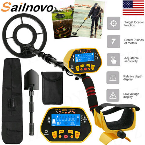 Sailnovo Metal Detector Deep Ground Gold Finder LCD with Waterproof Search Coil