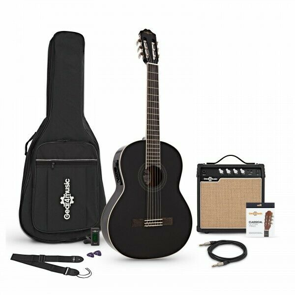 Deluxe Classical Electro Acoustic Guitar Black + Amp Pack