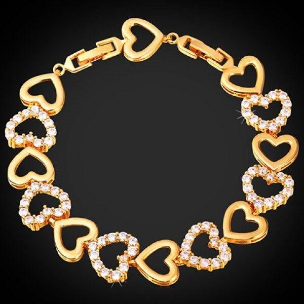 Rhinestone Heart Link Bracelet