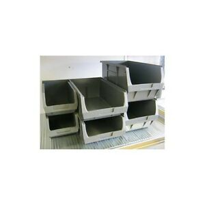 10 WAREHOUSE GREY PLASTIC STORAGE BINS 187x106x76mm.