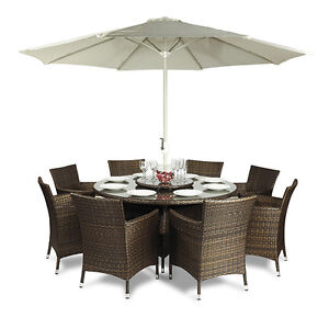 Savannah 8 Seat Round Dining Table Chairs Rattan Garden Furniture Outdoor Pat