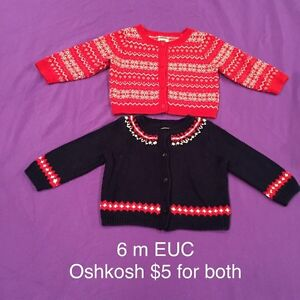 Oshkosh holiday sweaters 6 months EUC