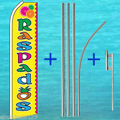 Raspados Flutter Feather Flag 15 Tall Pole Mount Swooper Bow Banner Sign