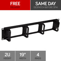 2u 19, Rack Mount 4 Ring Cable Management Bar Black Plastic Network Cabinet - linxcom uk - ebay.co.uk