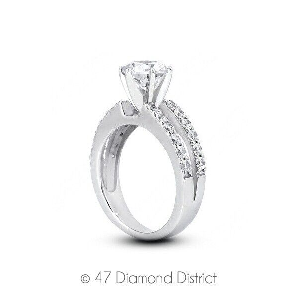 1.47ct Tw I-si3 Round Earth Mined Certified Diamonds 14k Gold Side-stone Ring