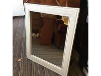 """White Wooden Frame Mirror 20"""" X 16"""""""