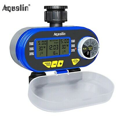 Two Outlet Garden Digital Electronic Water Timer Solenoid Valve Irrigation new