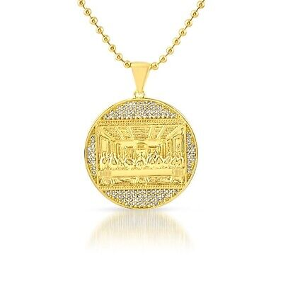 Gold Mini Last Supper Jesus Medallion Iced Out Pendant Chain Iced Out Jesus Pendant