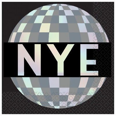 Disco Ball New Year Eve Beverage Napkins-NEW-16 count