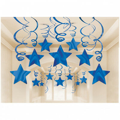 Blue Foil Star Hanging Decorations - Party Supplies 30 Pieces Brand new - Star Hanging Decorations