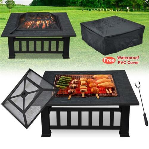 32'' Outdoor Garden Fire Pit BBQ Grill Brazier Square