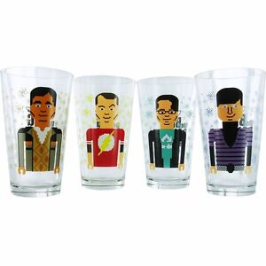 Big Bang Theory Pixelated Group Glass Set