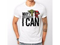 WHITE 'BECAUSE I CAN' T-SHIRT 2 days UK Delivery