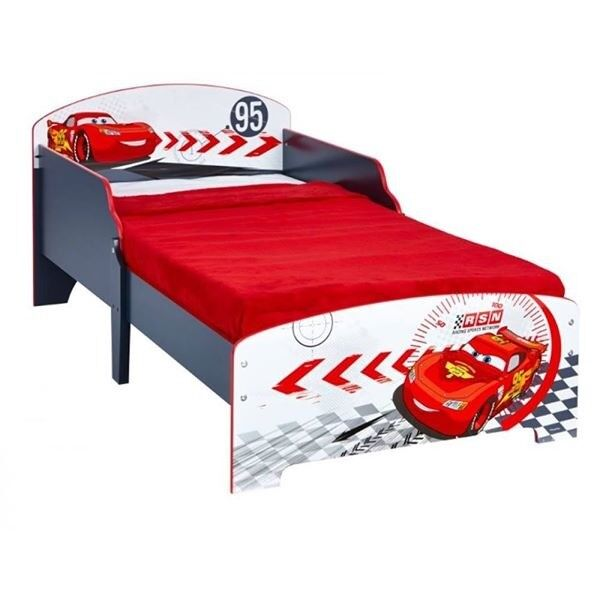 Disney Cars Lightning McQueen Toddler Bed Toy Box Organizer Bookshelf