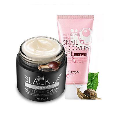 [MIZON]  [1+1] Black Snail All In One Cream 75ml + Snail Recovery Gel Cream 45ml