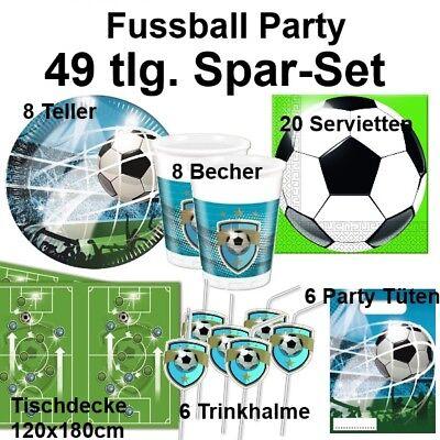 49 tlg. Spar-Set FUSSBALL Taktik  Kinder Geburtstag Party Set - Teller Becher
