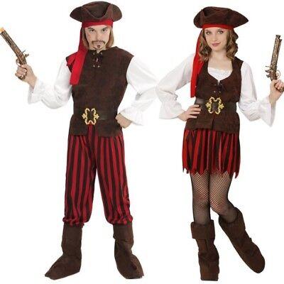 Pirat Piratin Komplettes Kinder Kostüm Jungen & Mädchen Partnerkostüm - Jungen Mädchen Piraten Kostüm