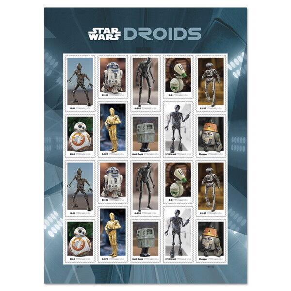 USPS New Star Wars (TM) Droids Pane of 20 Star Wars