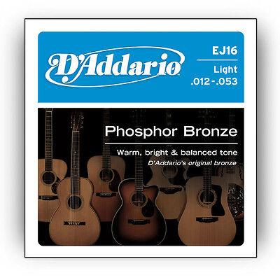 Brand New D'Addario EJ16 Phosphor Bronze Light Acoustic Guitar Strings .012-.053