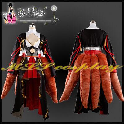 Azur Lane Akagi Black Kimono Fox Tails Cosplay Costume Full Sets Free - Fox Tail Kostüm