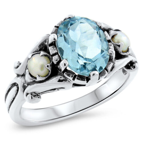 GENUINE SKY BLUE TOPAZ PEARL 925 STERLING SILVER ANTIQUE STYLE RING,        #575