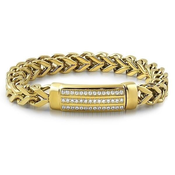 inches ct bracelet station diamond franco gold mens two tone