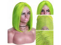Green Lace frontal Wig Bob