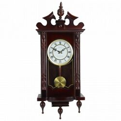 Bedford Clock Collection Classic 31 Chiming Wall Clock With Roman Numerals And