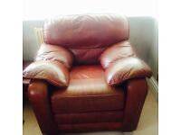 Italian leather large 3 seater sofa 2 chairs