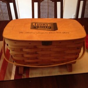 VINTAGE PROCTER & GAMBLE TRADEMARK WOOD SOAP BASKET
