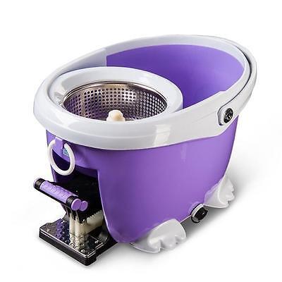 Microfiber Spin Spinning Mop Easy Floor Mop W Bucket 2 Heads 360 Rotating Head
