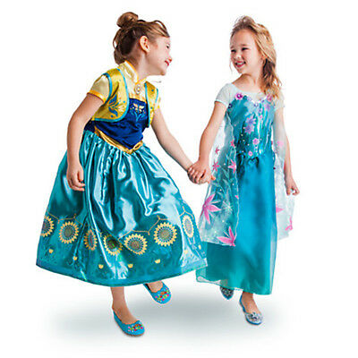NEW! Disney Store Frozen Fever Anna & Elsa 2-in-1 Costume Set 5/6 7/8 - Elsa In Frozen Costume