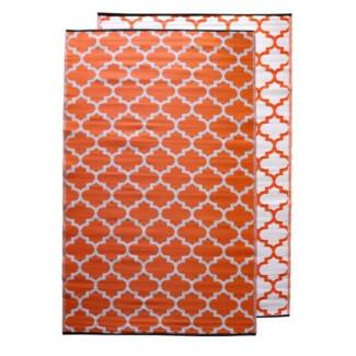 Moroccan Recycled Mat Orange White