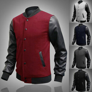 2015-Casual-PU-Leather-Men-s-Slim-Fit-Baseball-Sweaters-jackets-Outerwears-Coats