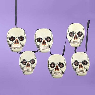 Vintage-style SKULL Paper Garland Gothic Halloween Party Decor 5 Feet long NEW