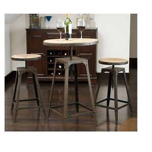 rustic weathered kitchen dining pub style table bar stool