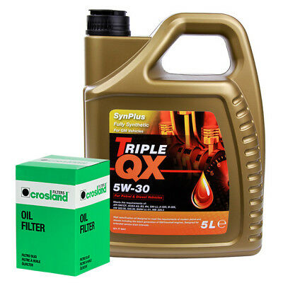 Oil Filter Service Kit With Triple QX Fully Syntetic Plus GM 5W30 Engine Oil 5L