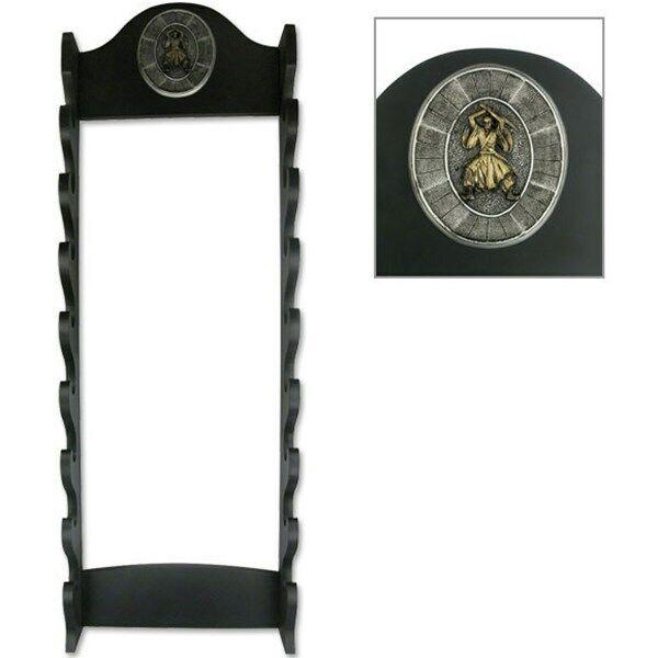 8-TIER WOOD KATANA DISPLAY SWORD WALL MOUNT HANGER STAND Samurai Rack Holder