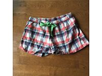 Women's brand new Topshop soft brushed cotton tartan pyjama shorts - size 16