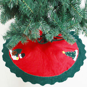 90CM Red Merry Christmas Snowman Deluxe Xmas Felt Tree Skirt Decoration