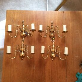 Vintage gold wall lights (set of 4)