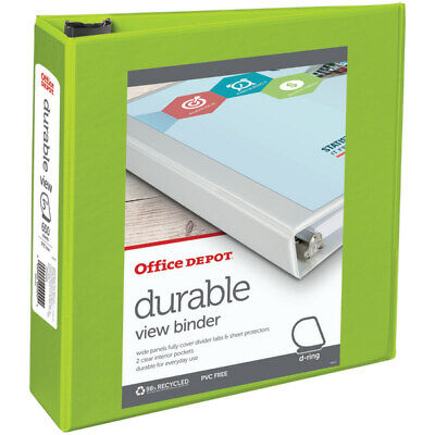 Office Depot Brand Durable D-ring View Binder 3 Rings Letter Size Green