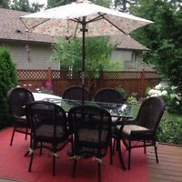 Pier One dining table, 6 chairs, umbrella and stand