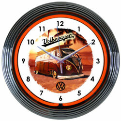 VOLKSWAGEN VW BUS Logo Red 15 Neon Clock 8VWBUS New Neonetics Man Cave LOOK