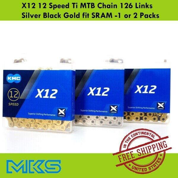 KMC X12 12 Speed Ti MTB Chain 126 Links Silver Black Gold fi