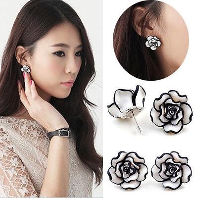 Elegant Fashion Cute women Lady Girls Black & White Rose Flower Stud Earrings