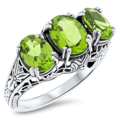 GENUINE PERIDOT 3 STONE .925 STERLING SILVER ART DECO RING,          #370